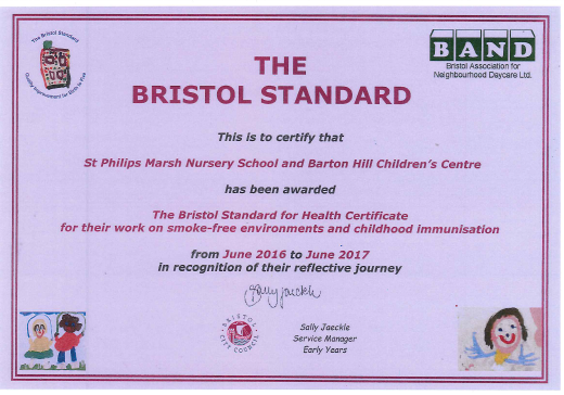 We have been awarded The Bristol Standard for Health Certificate