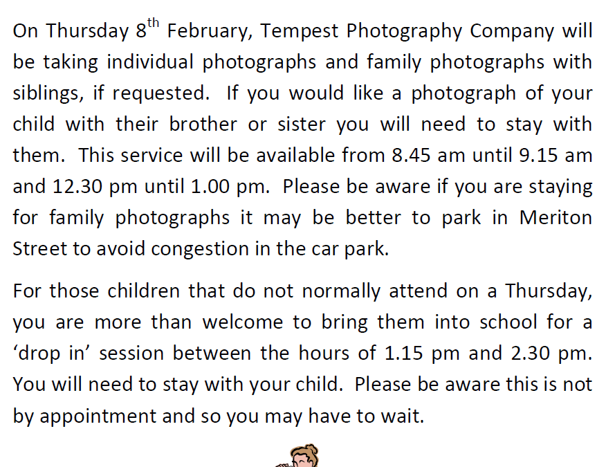School Photographer will be attending on 8 February