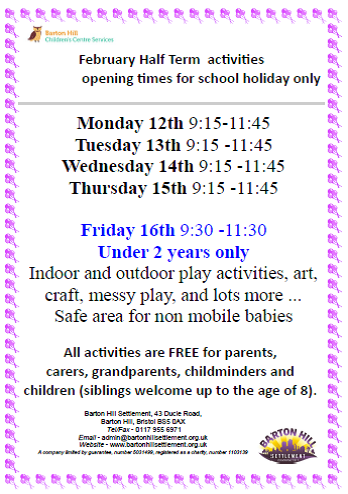 Barton Hill Settlement February holiday programme