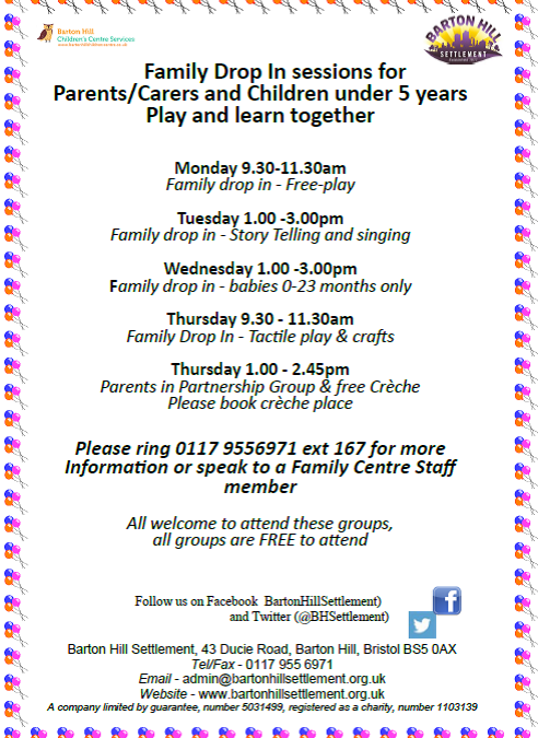 Barton Hill Settlement family drop-in sessions