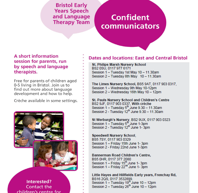 Speech and Language Drop-in sessions and Confident Communicators