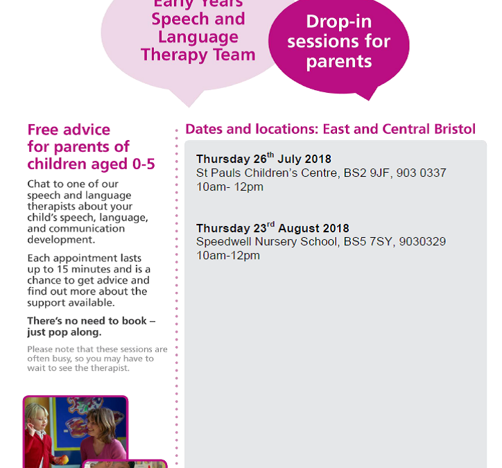 Speech and Language drop-ins – summer 2018