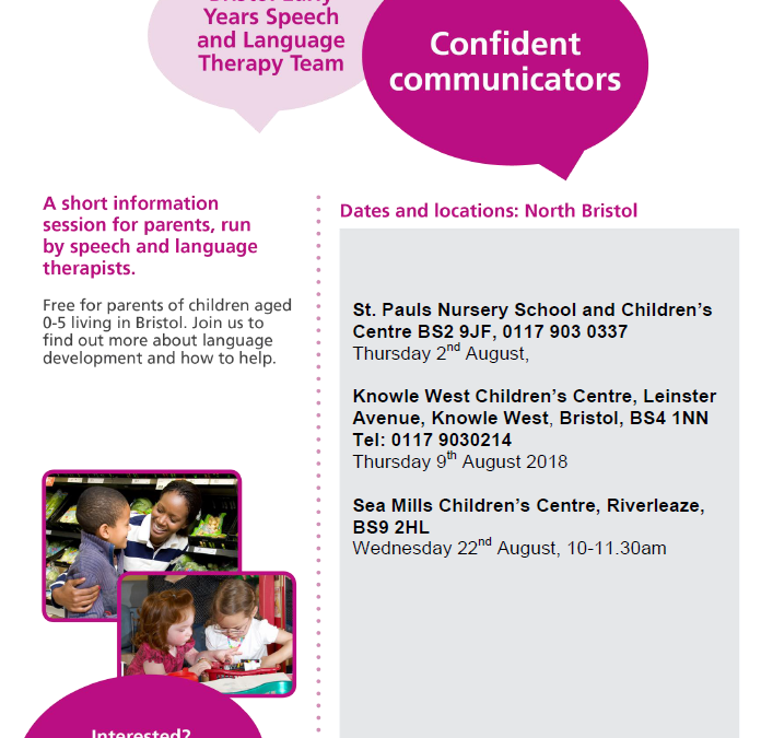 Speech and Language Therapy Confident Communicators August 2018