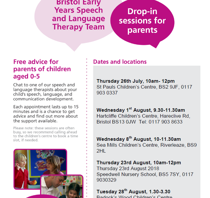 Speech and Language Therapy drop-in sessions July and August 2018