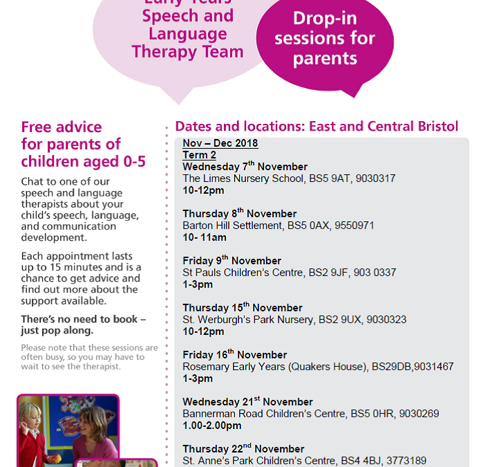 Speech and Language Drop-in sessions Term 2 2018