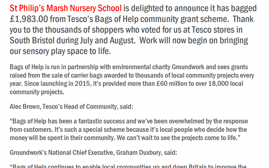 We bag £1,983.00 from Tesco's community grant scheme
