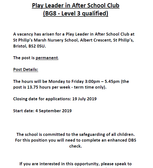 Job advert for Play Leader