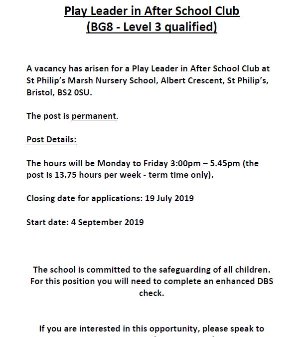 Job advert for Play Leader