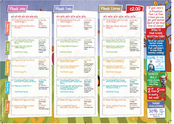School meal price increase and new menu