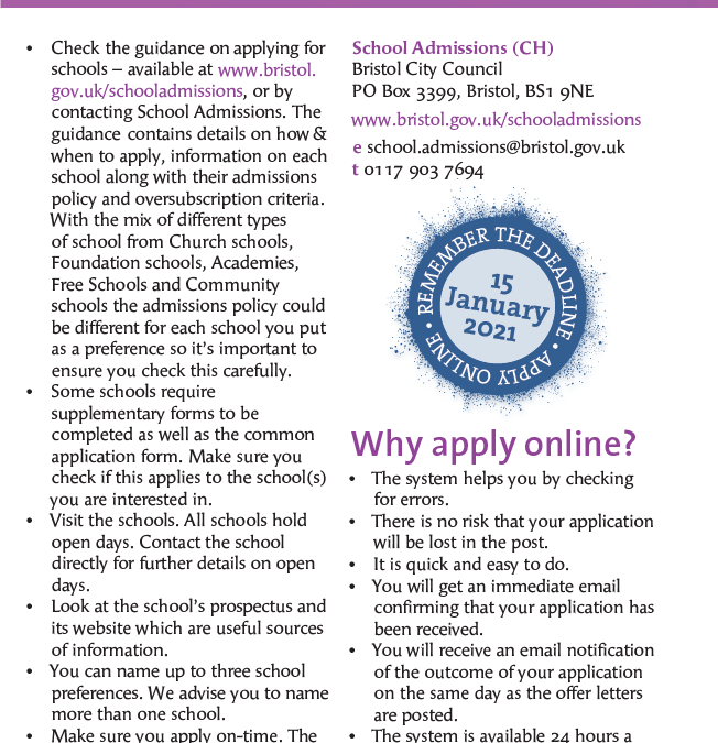 Apply for primary school place now