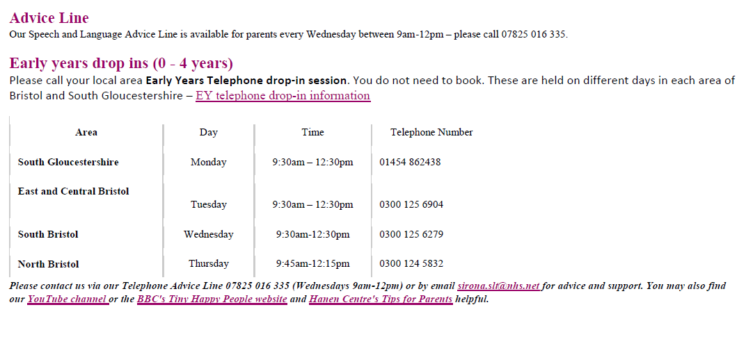Latest Speech and Language Therapy drop-in sessions